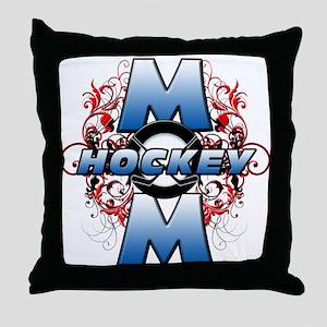 Hockey Mom (cross) Throw Pillow
