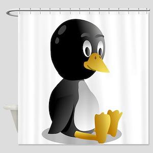 Penquin cartoon sitting Shower Curtain