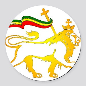 KING OF KINGZ LION Round Car Magnet