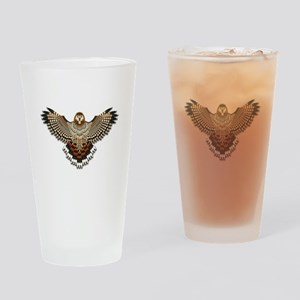 Beadwork Red-Tailed Hawk Drinking Glass