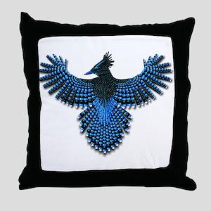 Beadwork Steller's Jay Throw Pillow