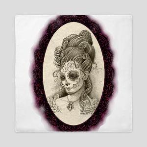 Maroon Dia de los Muertos Queen Duvet
