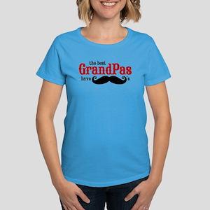 Best Grandpas Have Mustaches Women's Dark T-Shirt