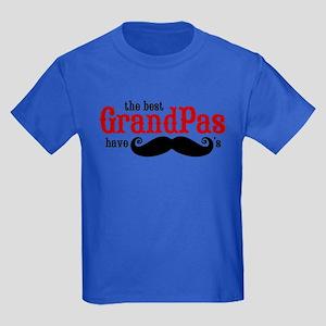 Best Grandpas Have Mustaches Kids Dark T-Shirt