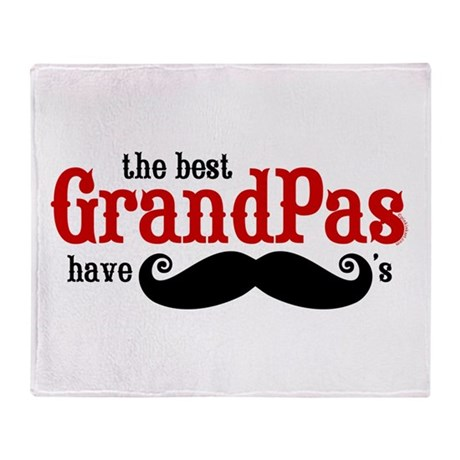 Best Grandpas Have Mustaches Throw Blanket