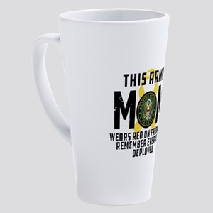 Army Mom Wears RED 17 oz Latte Mug