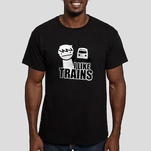 I Like Trains! Men's Fitted T-Shirt (dark)