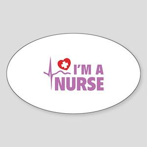 I'm A Nurse Sticker (Oval)