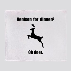 Venison Deer Pun Throw Blanket