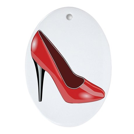 Red High Heel Ornament (Oval)