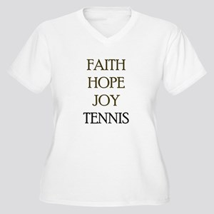 FAITH HOPE JOY TENNIS Women's Plus Size V-Neck T-S