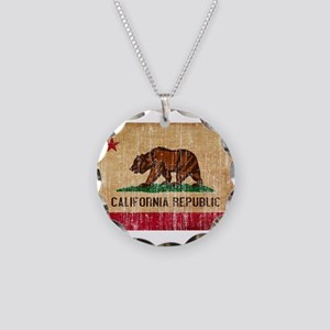 California Flag Necklace Circle Charm