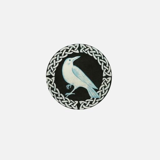 White Crow Celtic design Mini Button