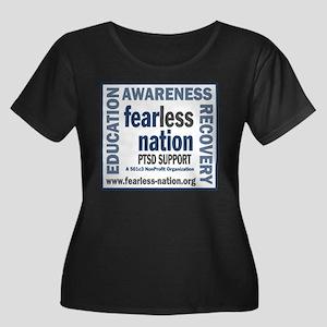=FN= Women's Plus Size Scoop Neck Dark T-Shirt