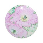 Pink Cactus Flowers Flip Flops Ornament (Round)