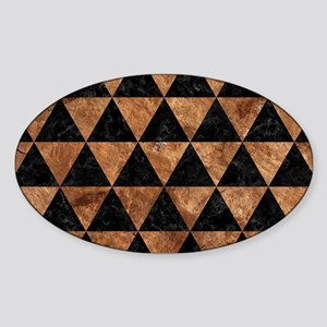 TRIANGLE3 BLACK MARBLE & BROWN STON Sticker (Oval)
