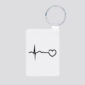 Heartbeat Aluminum Photo Keychain