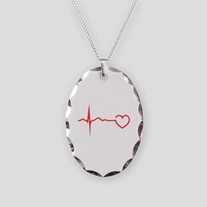 Heartbeat Necklace Oval Charm