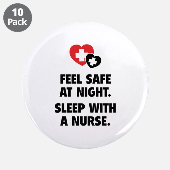 """Feel Safe At Night 3.5"""" Button (10 pack)"""