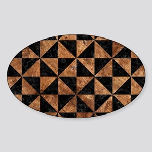 TRIANGLE1 BLACK MARBLE & BROWN STON Sticker (Oval)