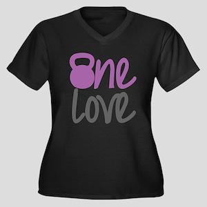 Purple One Love Kettlebell Women's Plus Size V-Nec