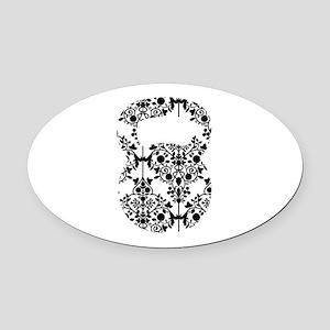 Damask Kettlebell Oval Car Magnet