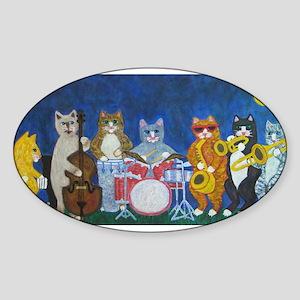 Salsa Cats at Night Sticker (Oval)