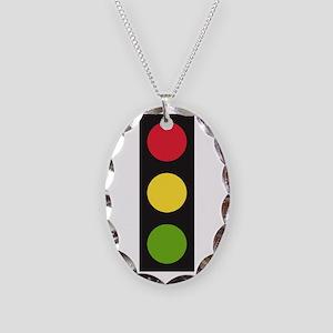 Traffic Light Necklace Oval Charm