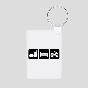 Eat Sleep ATV Aluminum Photo Keychain