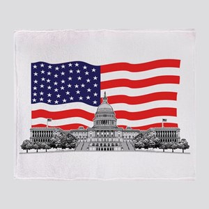 USCapitolbldgFlagREC2 Throw Blanket