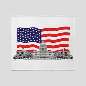 USCapitolbldgFlagREC2.png Throw Blanket