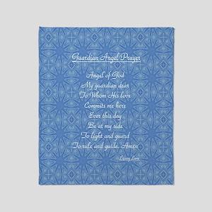 Guardian Angel Prayer Blue Throw Blanket