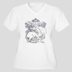 Believe in Unicor Women's Plus Size V-Neck T-Shirt