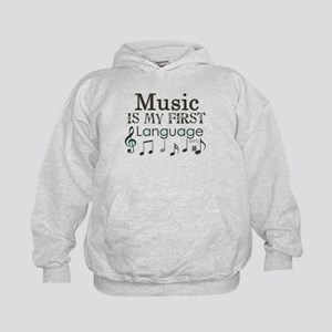 Music is my first Language Kids Hoodie