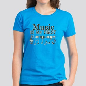 Music is my first Language Women's Dark T-Shirt