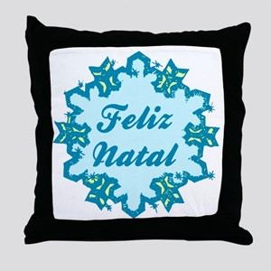 Merry Christmas in Portuguese Throw Pillow