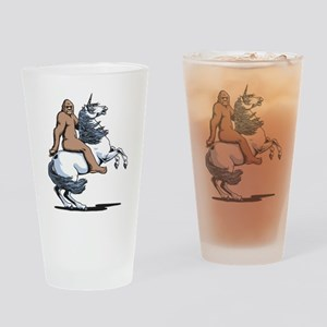 Bigfoot Riding a Unicorn Drinking Glass