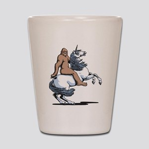 Bigfoot Riding a Unicorn Shot Glass