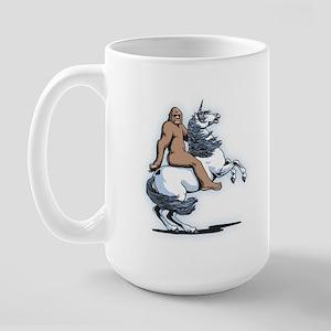Bigfoot Riding a Unicorn Large Mug