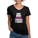 Girlie fighting machine Women's V-Neck Dark T-Shir