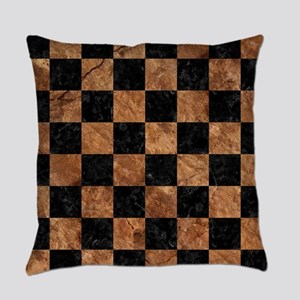 SQUARE1 BLACK MARBLE & BROWN STONE Everyday Pillow