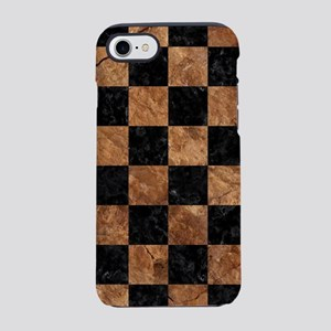 SQUARE1 BLACK MARBLE & BROWN S iPhone 7 Tough Case