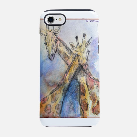 Giraffes! wildlife art iPhone 7 Tough Case