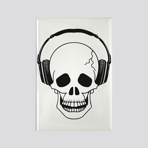Skull and Headphones Rectangle Magnet