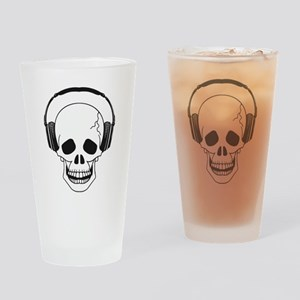 Skull and Headphones Drinking Glass
