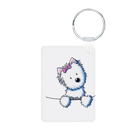 Pocket Westie Girl Aluminum Photo Keychain
