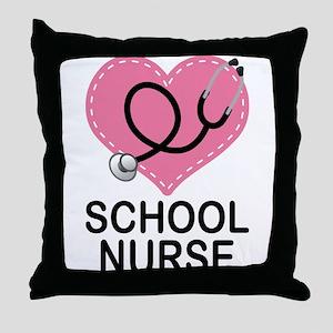 School Nurse Heart Throw Pillow