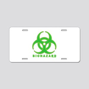 BioHazard Green Glow (wh) Aluminum License Plate