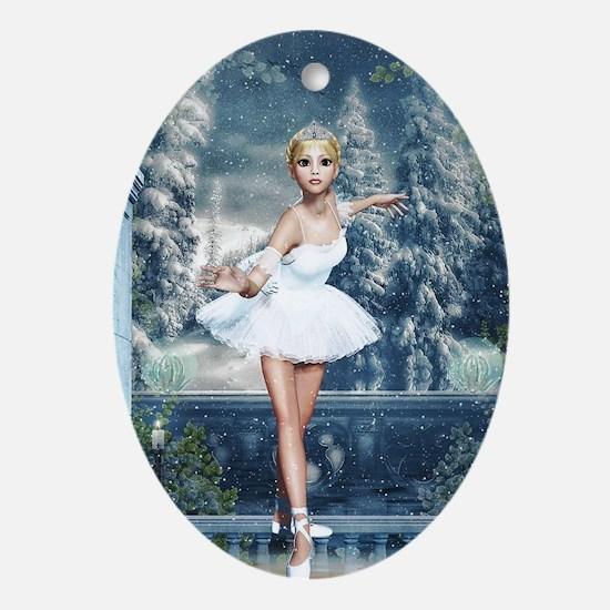 Snow Princess Nutcracker Ballerina Oval Ornament