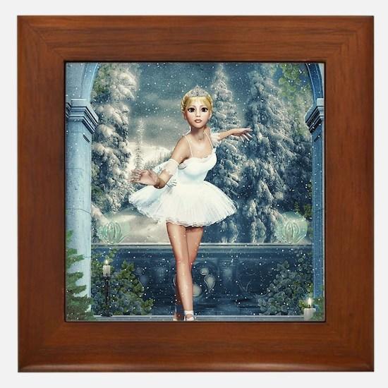 Snow Princess Nutcracker Ballerina Framed Tile